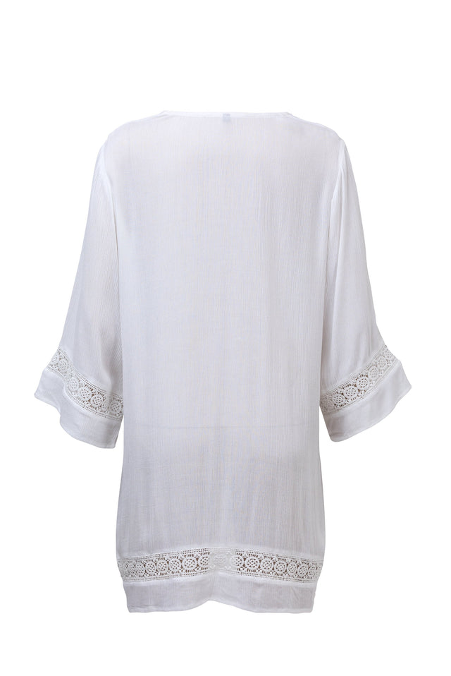 Ladies White Fluted Kaftan