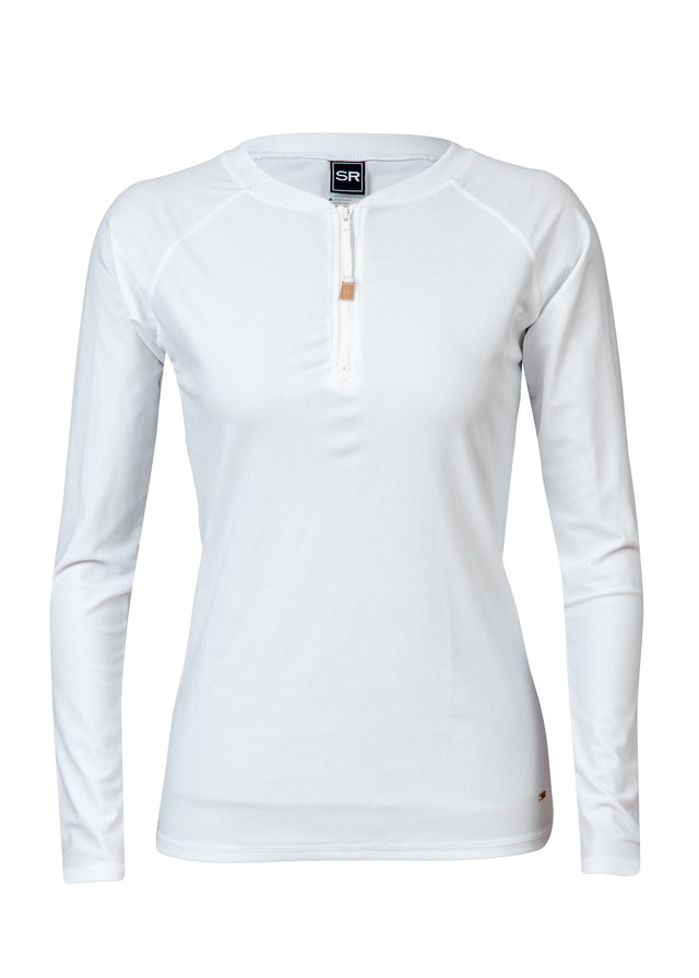 Womens White 1/2 Zip LS Rash Top