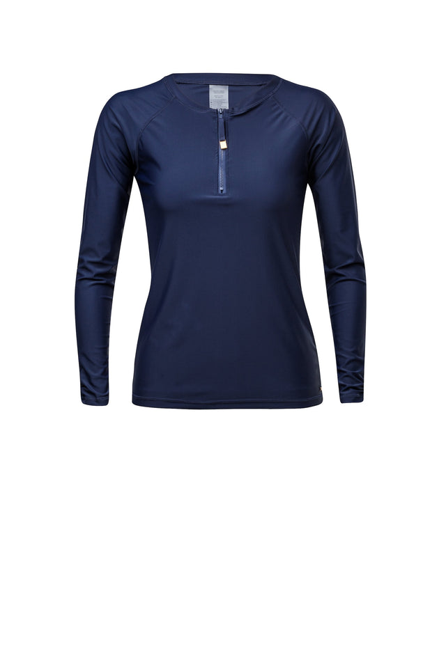 Ladies Navy 1/2 Zip LS Rash Top