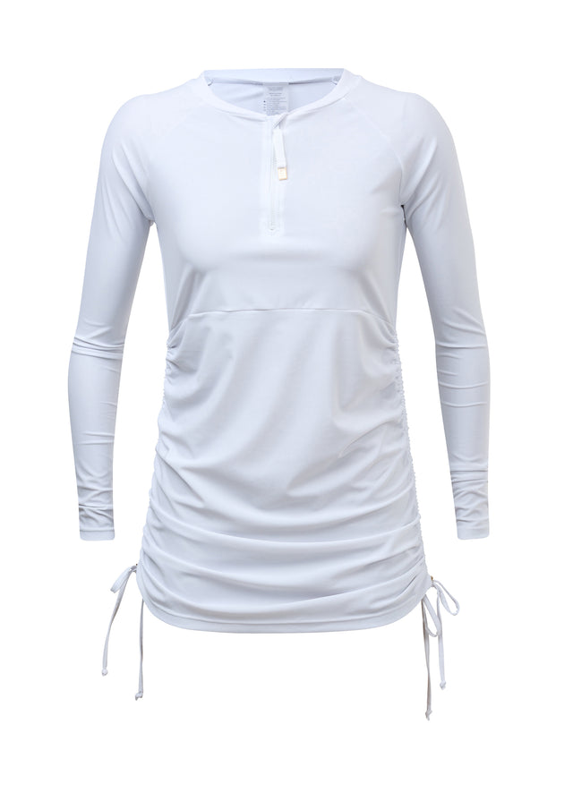 Ladies White Ruched LS Swim Dress