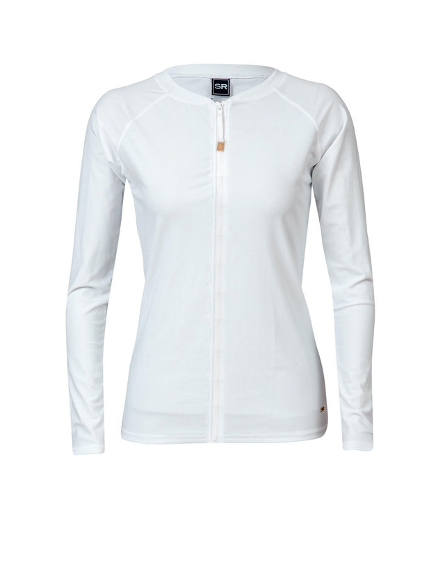 Ladies White Zip Front LS Rash Top