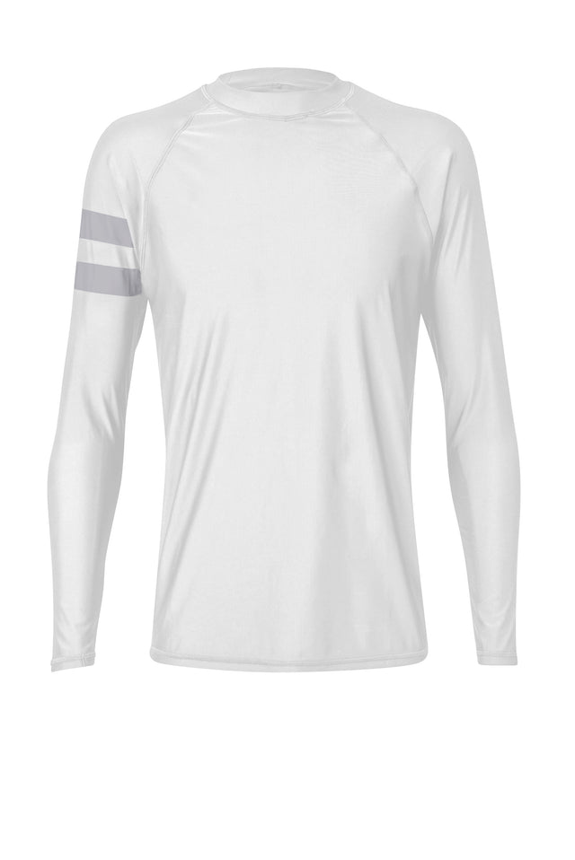 Men's White Arm Band Long Sleeve Rash Top