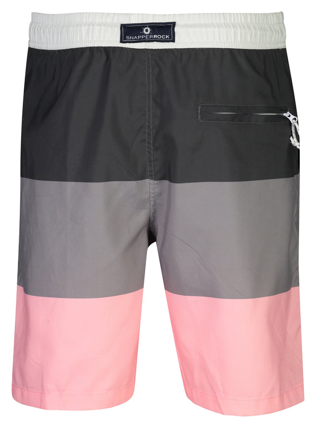 Mens Grey Pink Block Stripe Boardies