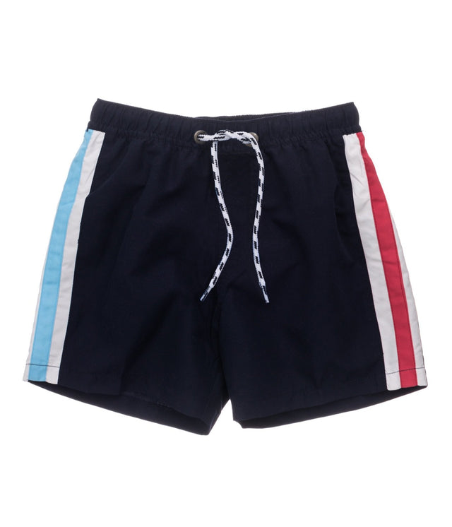 Mens Navy Contrast Panel Volley Board Short