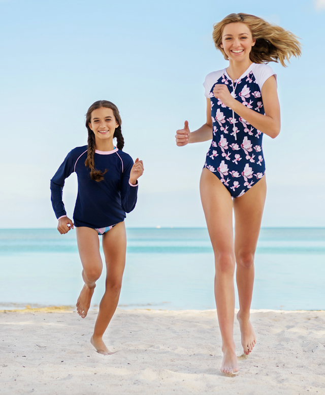 Navy Orchid SS Surf Suit