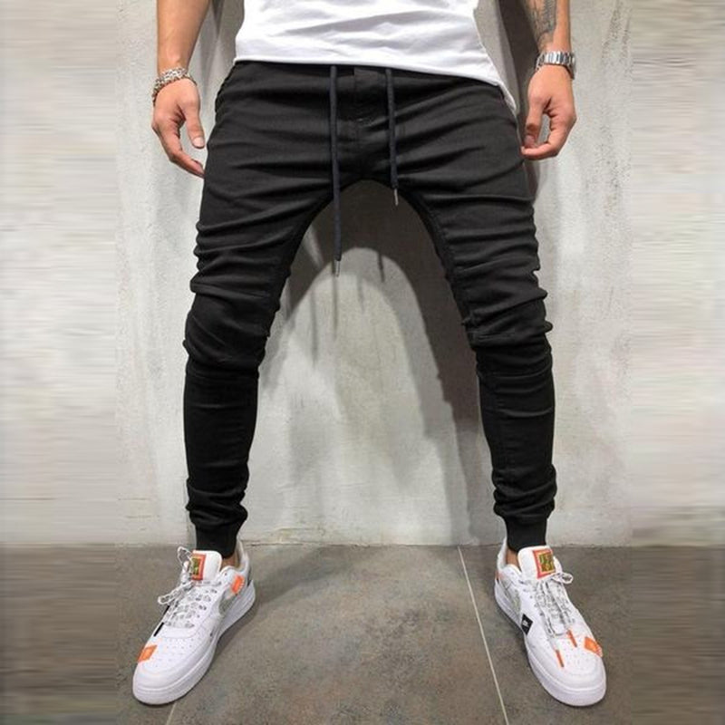 Men Casual Sports Beamed Drawstring Slim Ankle-Length Jeans