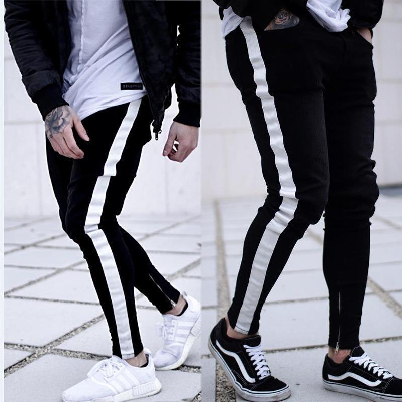 Men's Skinny Jeans Black Casual Slim Zipper Pants