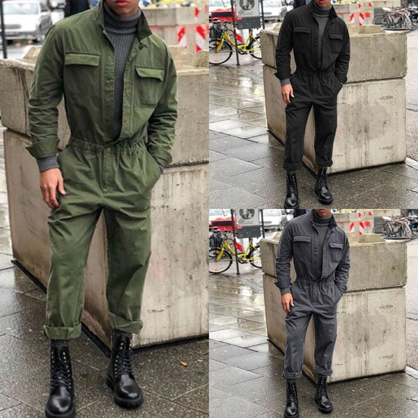 Fashion Mens Lapel Collar Plain Jumpsuit