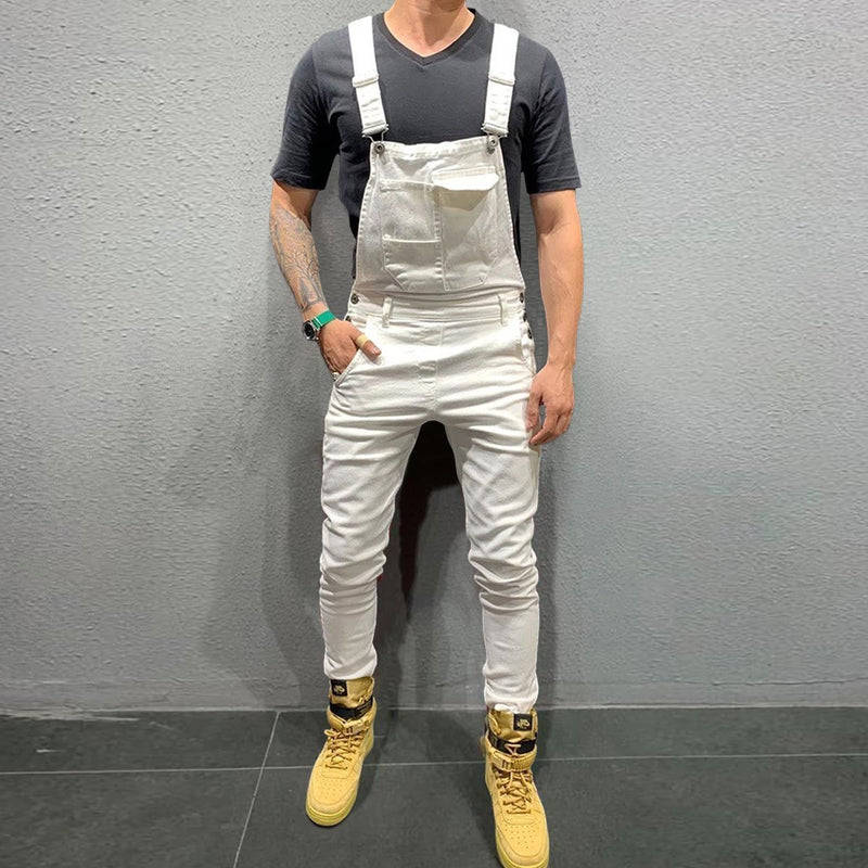 Fashion Tight Fit Washed Denim Overalls