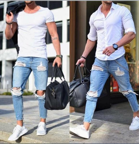 Fashion Ripped Mens Jeans Slim Fit Pants