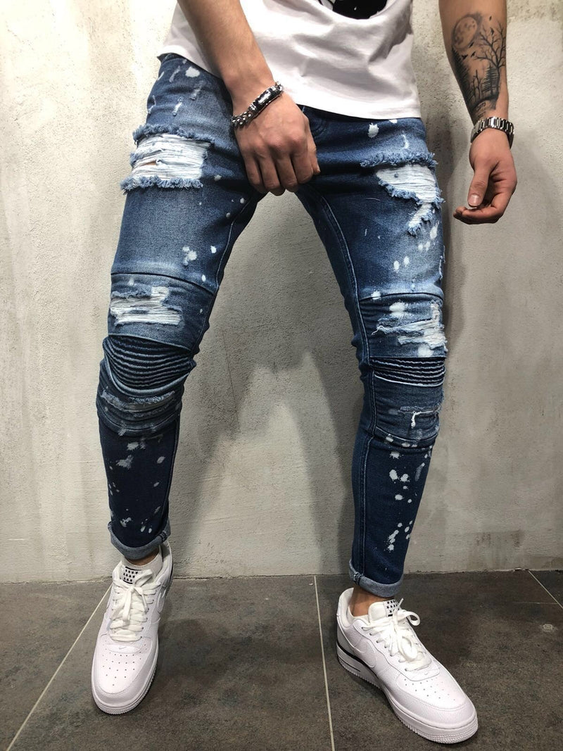 Slim-Fit Stretch Jeans, Hole Painting, White Trousers, Pleated Feet Pants