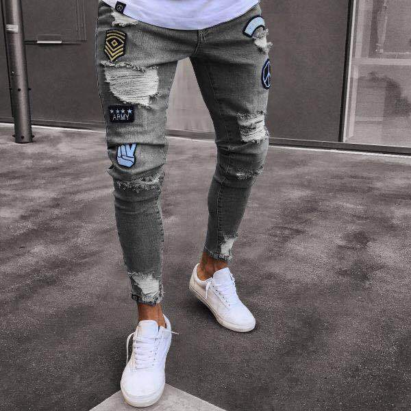 Fashion Pure Color Ripped Jeans Pants