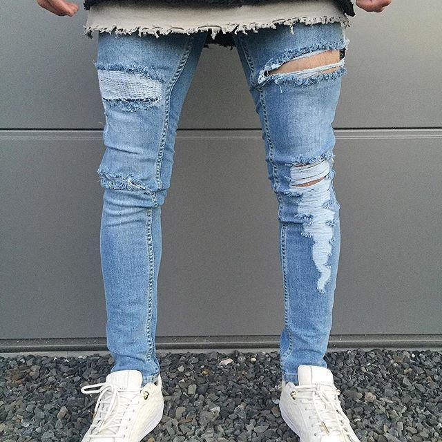 Fashion Cool Hole Plain Slim Jeans Pants