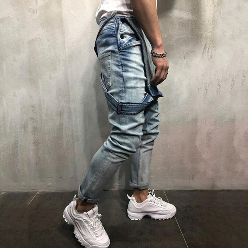 Men's sling denim romper torn   jeans trousers