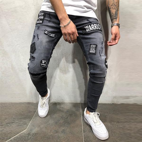 Men's Fashion Patch Slim-Fit Pants