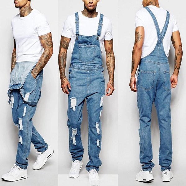 Fashion Men's Sling Rompers Torn Jeans Trousers Jumpsuits