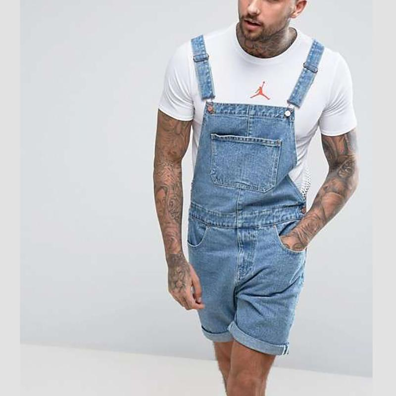Men's Denim Shorts Hole Vintage Piece Overalls Jumpsuits