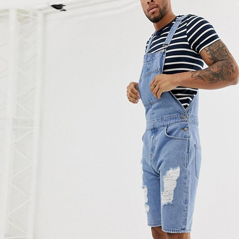 Men's Fashion Distressed Broken Hole Strap Shorts
