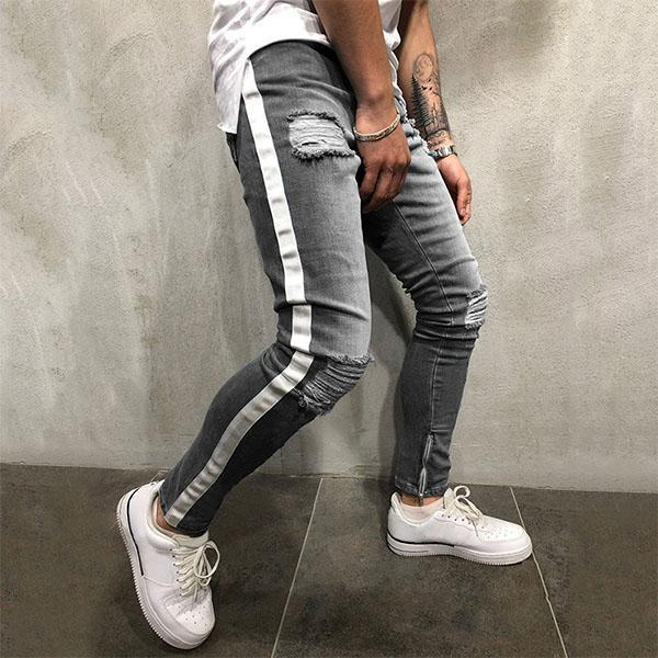 Men's Fashion Colorblock Ripped Slim-Fit Jeans