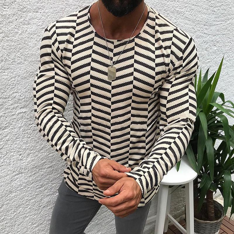 Individuality Fashion Stripe Round Neck T-Shirt