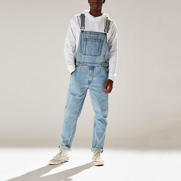 Men's Pure Color High Waist Overalls Jeans