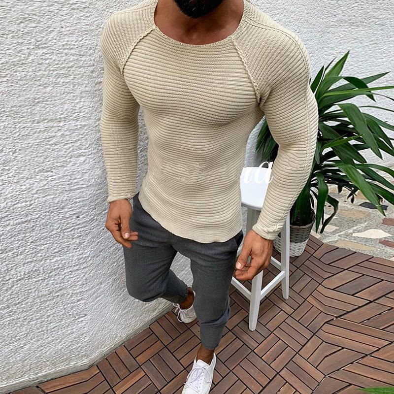 Fashion Solid Color Stitching Tight-Fitting Long-Sleeved Sweaters