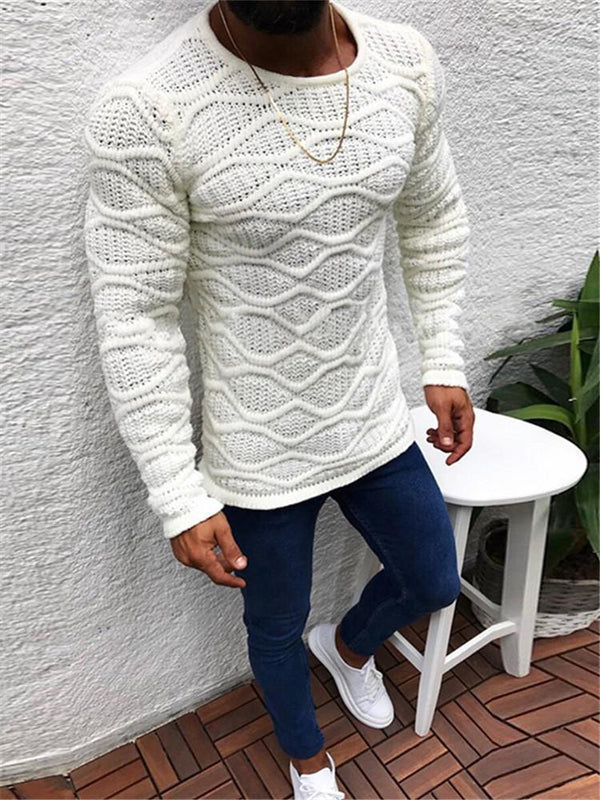 Fashion Round Neck Long Sleeve Solid Color Jacquard Sweaters