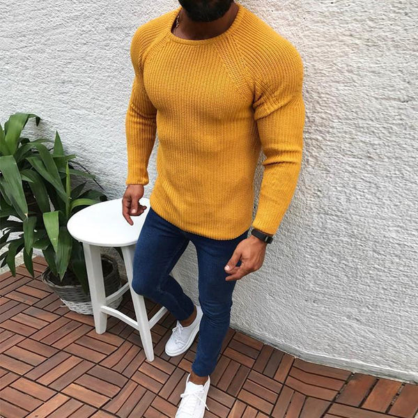 Fashion Round Neck Tight-Fitting Long-Sleeved Sweaters