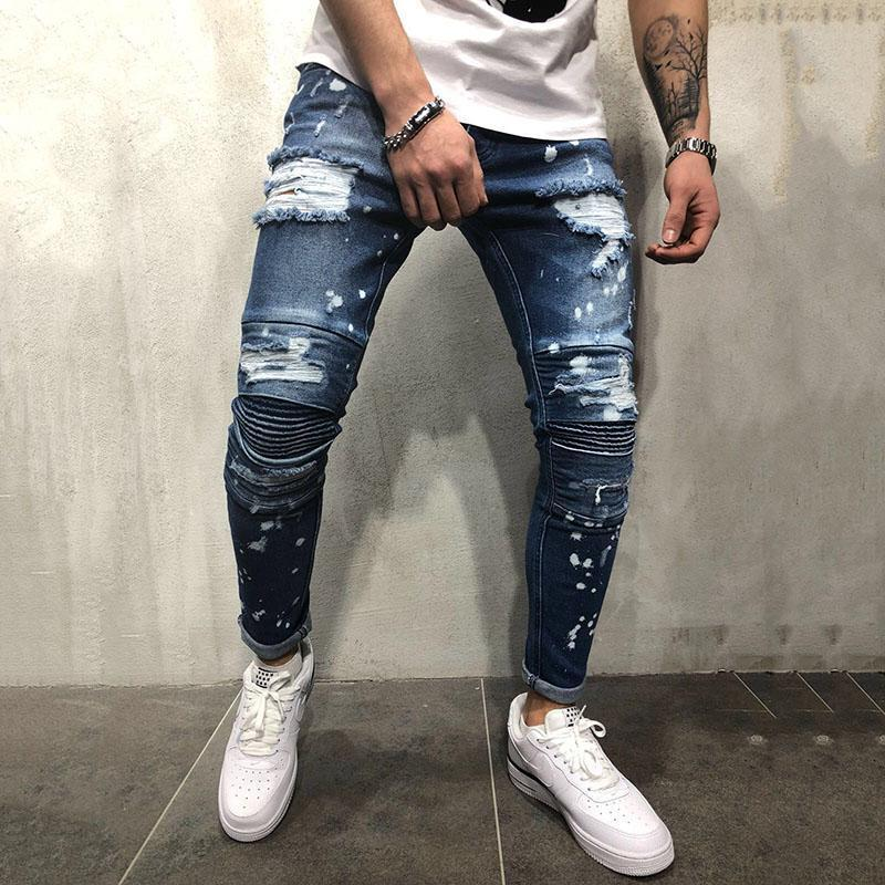 Fashion Hole Slim Pencil Jeans Pants