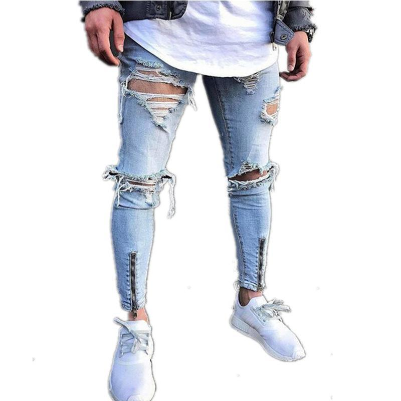 Street Slim Feet Zipper Worn Denim Trousers