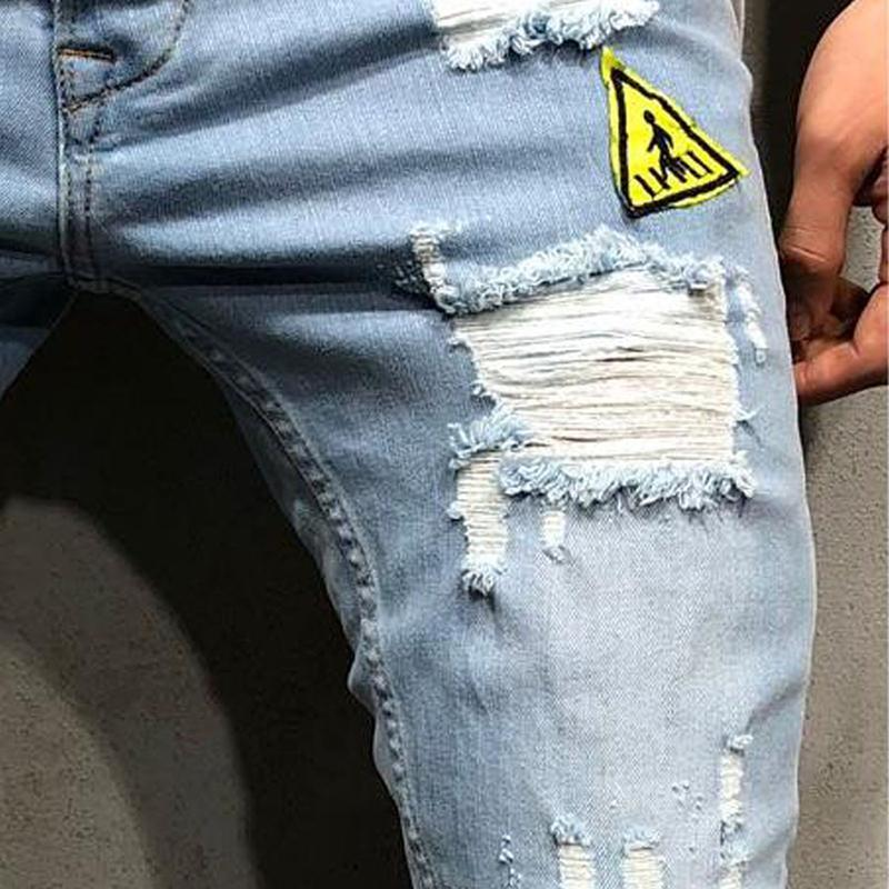 Fashion Patch Broken Hole Tight Fit Jeans