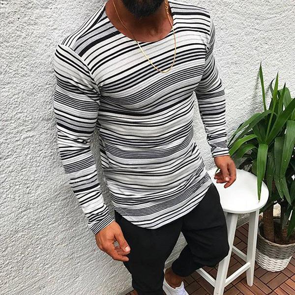 Men's Round Collar Long Sleeved Striped Casual T-Shirt