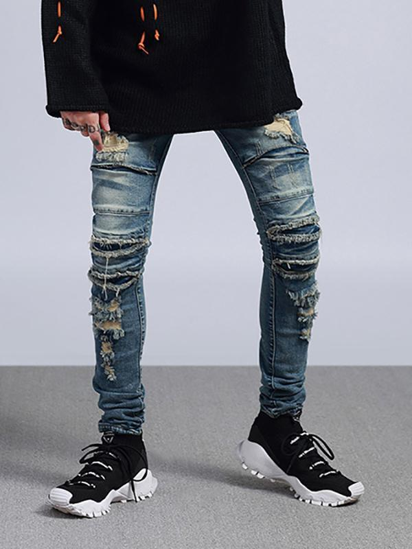 Men Broken Holes Distressed Jeans.