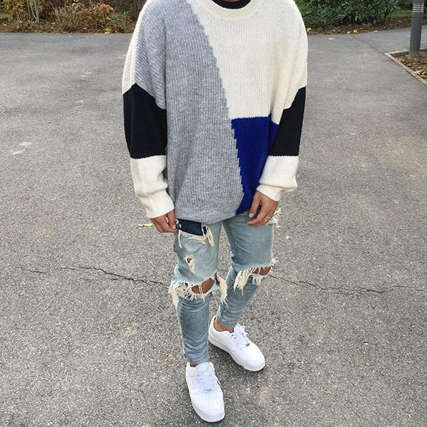 Casual Fashion Contrast Color Sweater