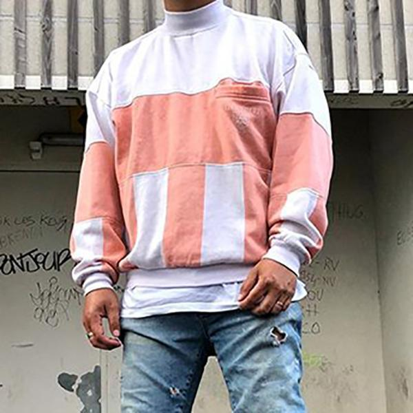 Men's Color Matching Small Turtleneck Sweatshirt