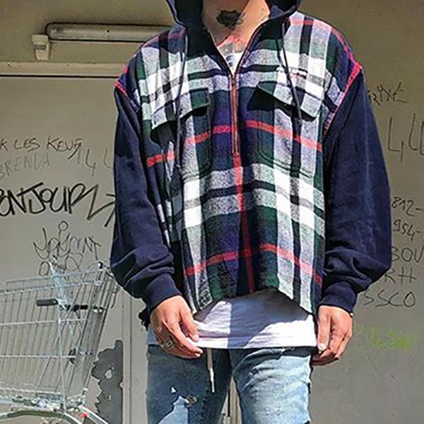 Plaid Long Sleeve Hooded Sweatshirts