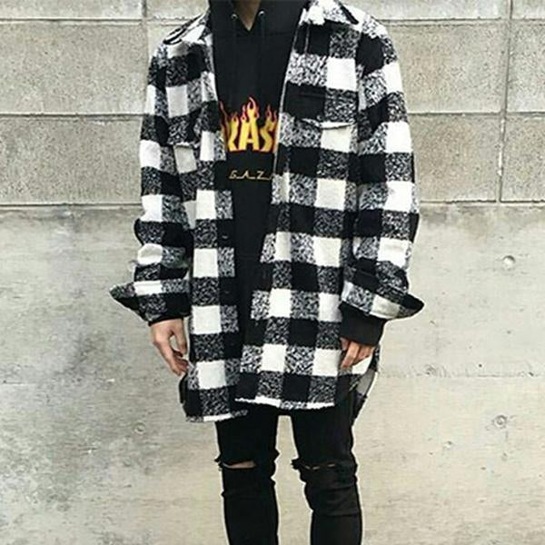 Fashion Plaid Printed Colour Long Sleeve Overcoat