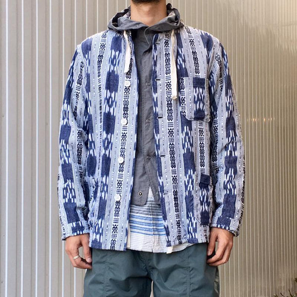 Casual abstract striped print patch pocket jacket