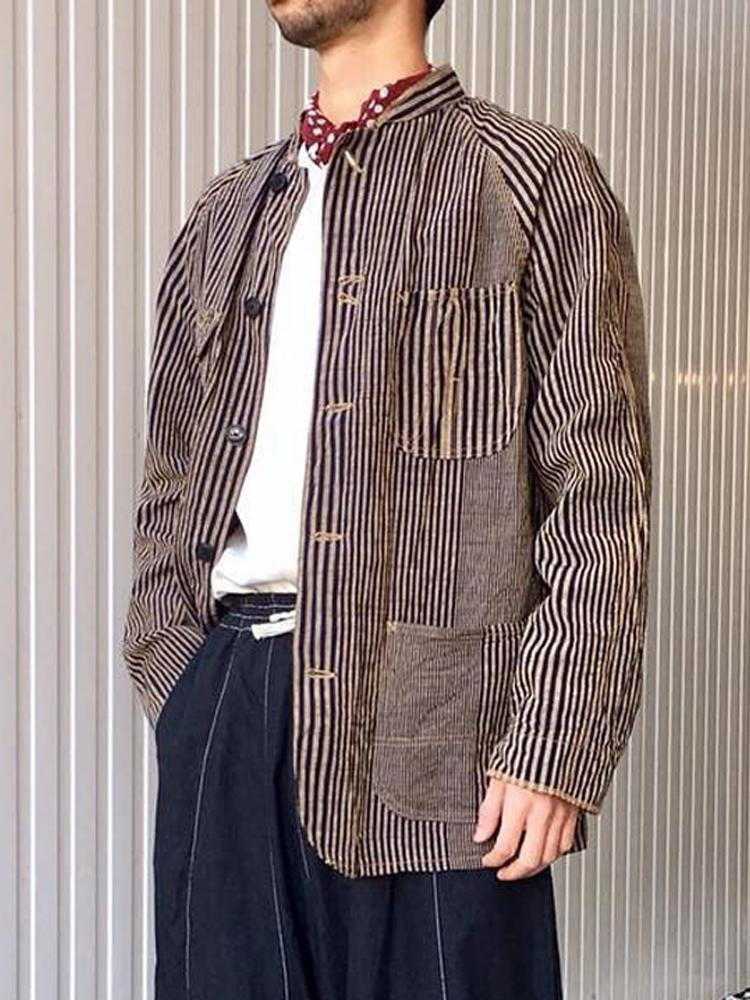 Chinese style striped stand collar patch pocket jacket