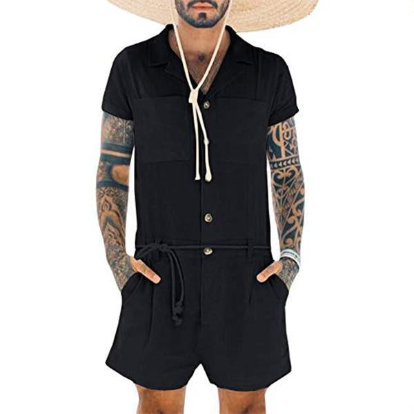 Men's Lace-Up Single-Breasted Solid Color Jumpsuit