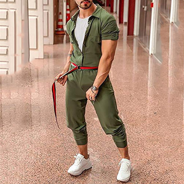 Men's Fashion Slim Fit Single-Breasted Jumpsuit