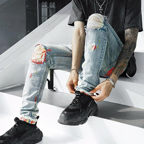 Knee Big Hole Graffiti Print Slim Feet Men's Jeans