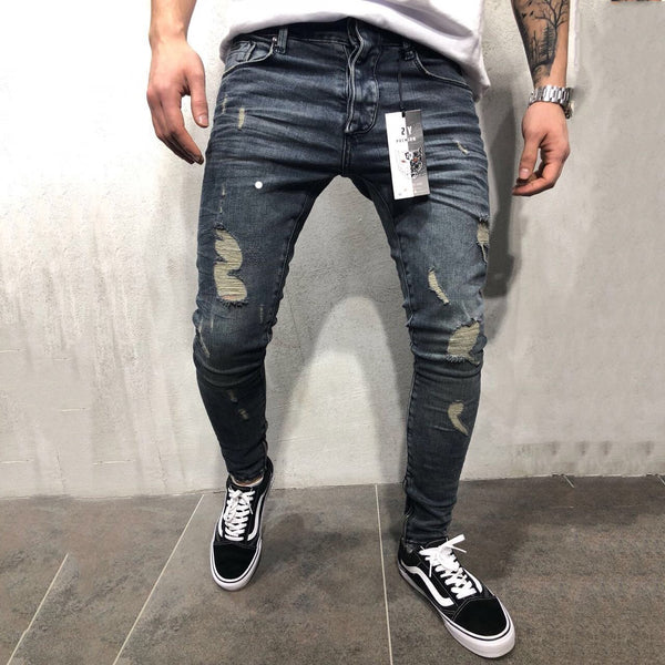 High Street Fashion Slim Personality Knee Hole Trousers Zipper Feet Long Pants Men's Hole  Jeans