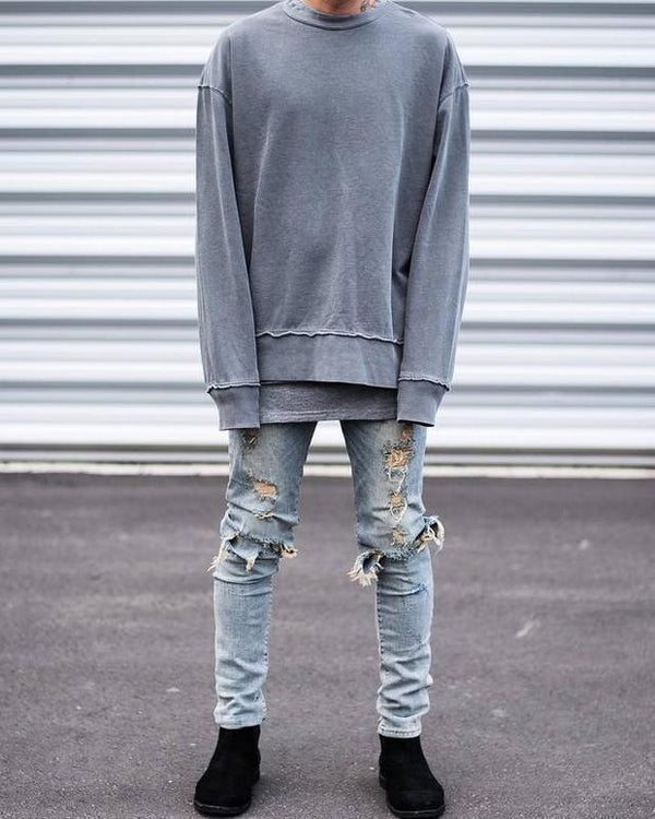 Fashion Street Style Cool Plain Hole Jeans Pants