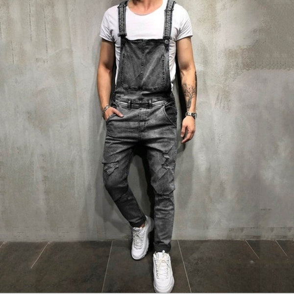 Fashion Retro Hole Sling For men Denim Overalls