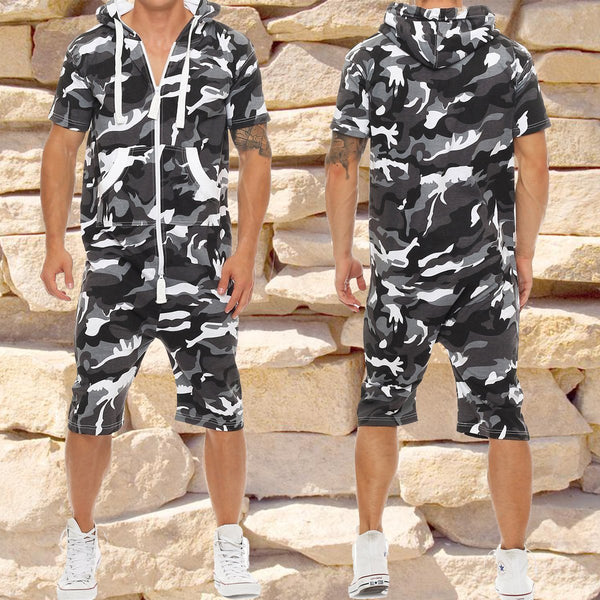 Men's Camouflage Short Sleeve Hooded Jumpsuit