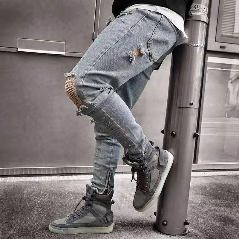 Chic Cool Hole Decorated Slim Jeans Pants
