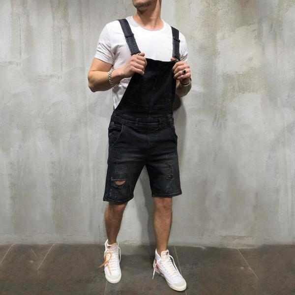 New Fashion For  Men's Shredded Sling Denim Jumpsuits Shorts