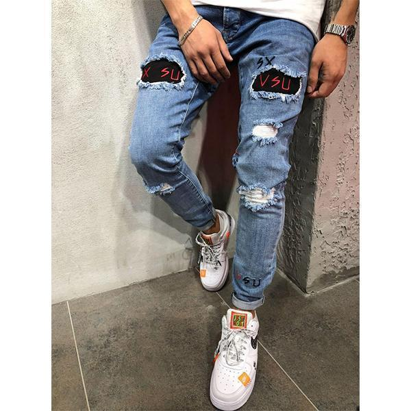 Fashion Street Style Slim Ripped Jeans