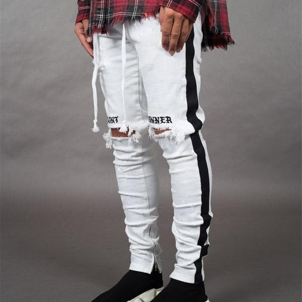 Men's Casual Hole Slim-Fit Pants Ripped Jeans